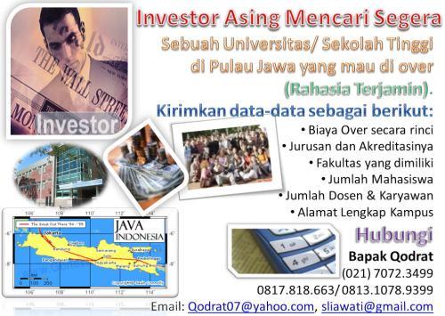 Investor Asing Mencari Universitas/ Sekolah Tinggi yang mau di over