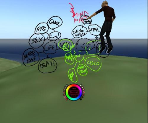 3d Mind Map in Second Life with Sky Pen