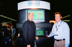 Mindjet CEO's Scott Raskin on the left and company rep Phil Novack at the company's booth at Enterprise 2.0